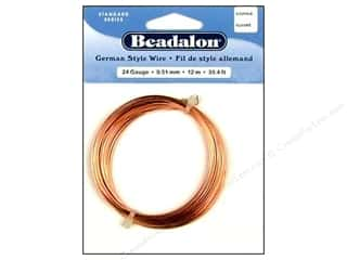24 ga wire: Beadalon German Style Wire 24ga. Round Copper 39.4 ft.