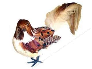 "Wire Animals: Midwest Design Birds 8"" Feather Fancy Tail Brown/Cream 1pc"