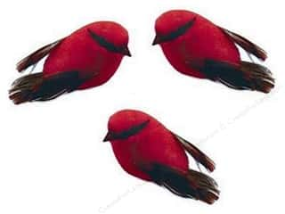 "Midwest Design Birds Feather Mini .5"" Red 3pc"