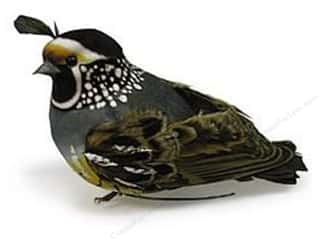 Decorative Floral Critters & Accessories: Accent Design Artificial Bird 4 1/4 in. Partridge White & Black Feather 1 pc.