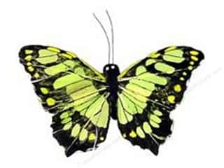 "Spring Decorative Floral Critters & Accessories: Midwest Design Butterfly 3.25"" Feather Wire Malachite 1pc"