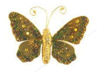 Midwest Design Butterfly Glitter 5&quot; Clip Green