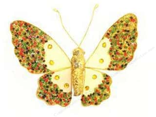 Midwest Design Butterfly Glitter/Bead 5&quot; Clip Wht