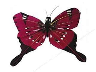 Midwest Design Butterfly Feather 3&quot; Wire Plum (3 pieces)