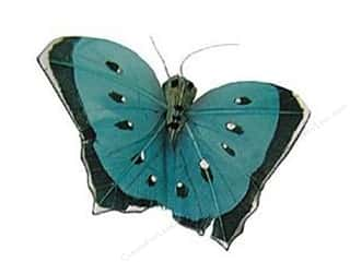 "Wire Blue: Midwest Design Butterfly 2.5"" Feather Wire Light Blue 1pc (3 pieces)"