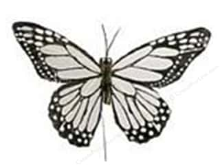 "Feathers Black: Midwest Design Butterfly 5"" Feather Wire White/Black 1pc"
