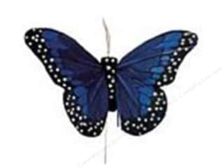 Midwest Design Butterfly Feather 4&quot; Wire Blue