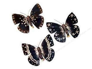 "Flowers $4 - $5: Midwest Design Butterfly 4.5"" Feather Clip Black Assorted 1pc"