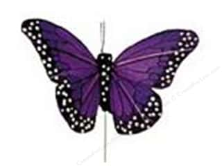 "Clearance Floral & Garden Accents Butterflies: Midwest Design Butterfly 4"" Feather Wire Purple 1pc"