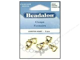 Beadalon Lobster Clasps Heart Gold Plated 5pc