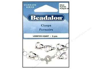 "Jewelry Making Supplies 5"": Beadalon Lobster Clasps Heart Silver Plated 5 pc."