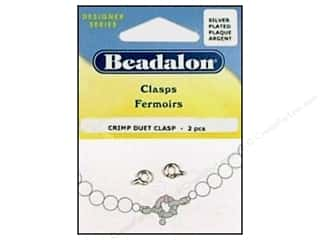 crimped clearance craft: Beadalon Crimp Duet Clasps #1 Silver Plated 2 pc.