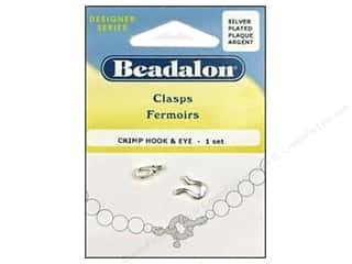 beadalon clasp: Beadalon Hook & Eye Clasps Crimp #2 Silver Plated