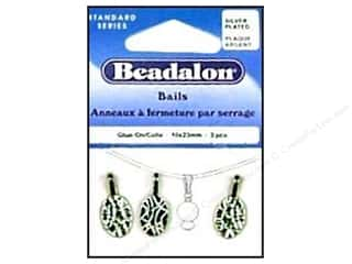 Drop Findings / Hoop Findings: Beadalon Bails Glue On 6x23mm Silver Plated 3pc