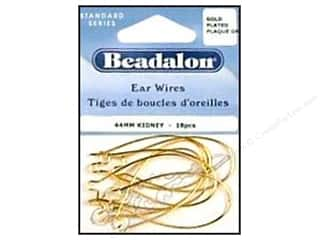 Beadalon Ear Wires Kidney 44mm Gold Plated 18pc