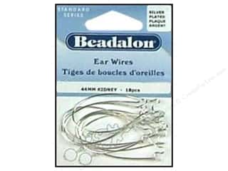 Beadalon Ear Wires Kidney 44mm Silver Plated 18pc