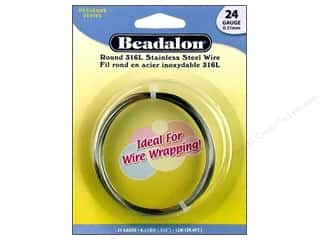 24 ga wire: Beadalon Stainless Steel Wire Round 316L 24Ga 39.4 ft.