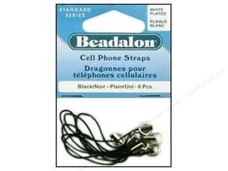Beadalon Cell Phone Strap Plain White Plated 6pc