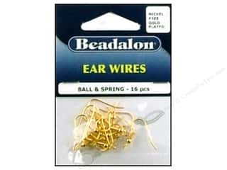 beadalon earring: Beadalon Ear Wires Ball & Spring Nickel Free Gold Plated 16 pc.