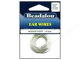 Wire Beading & Jewelry Making Supplies: Beadalon Ear Wires Beading Hoops Medium 25 mm Nickel Free Silver Plated 14 pc.