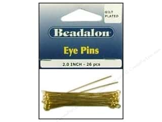 beadalon earring: Beadalon Eye Pins 2 in. Gilt plated 26pc.