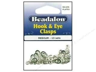 beadalon clasp: Beadalon Hook & Eye Clasps Med 13 Sets Slvr Pltd