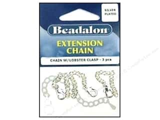 Beadalon scrimp: Beadalon Extension Chain with Lobster Clasp 2 in. Sliver 3 pc.
