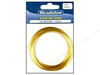 beadalon steel wire: Beadalon Plated Steel Memory Wire Large Bracelet Gold