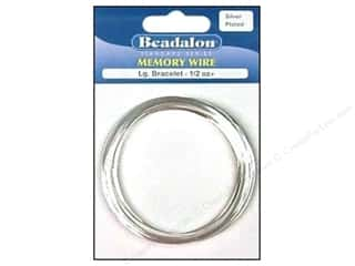 beadalon steel wire: Beadalon Plated Steel Memory Wire Large Bracelet Silver