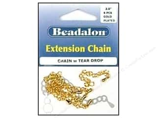 Beadalon Extension Chain 2&quot; Tear Drop Gold 6pc