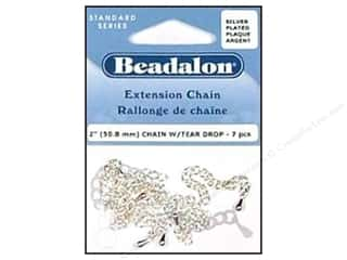 Beadalon scrimp: Beadalon Extension Chain with Tear Drop 2 in. Silver 7 pc.