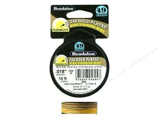 Beadalon Bead Wire 49 Strand .018&quot; Gold Plate 10&#39;