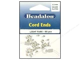Beadalon Cord Ends Light 1.5mm Silver Plate 60pc