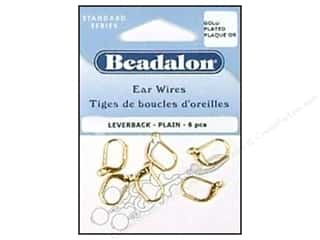 beadalon earring: Beadalon Ear Wires Leverback 3mm Gold Plated 6pc.
