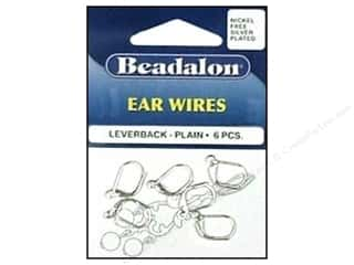 Earrings Beading & Jewelry Making Supplies: Beadalon Ear Wires Leverback 3 mm Nickel Free Silver Plated 6 pc.