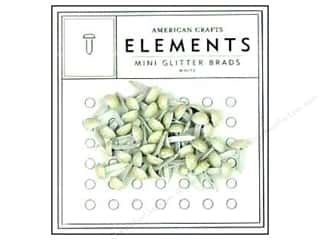 American Crafts Elements Brads 5 mm Mini Glitter 48 pc. White