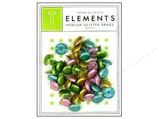 American Crafts Elements Brads Medium Glitter Pastel 40pc