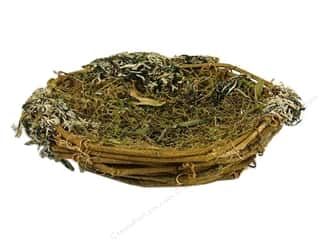 "Basic Components Spring: Midwest Design Bird Nest 5"" Brown with Moss 1pc"