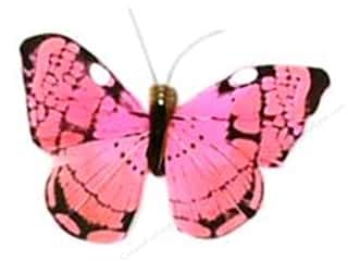 Midwest Design Butterfly Feather 2.5&quot; Pink (3 pieces)