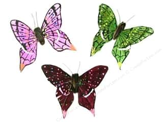 "Wire Burgundy: Midwest Design Butterfly 3.25"" Feather Wire Assorted 1pc"