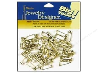 "Buttons Button Pins: Darice Jewelry Designer Pin Back .75"" Brass Plate Steel 48pc"