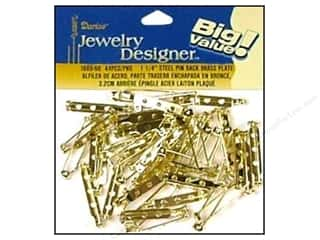 "Darice JD Pin Back 1.25"" Brass Plate Steel 44pc"