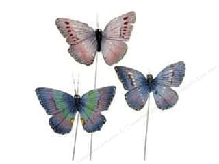 Midwest Design Butterfly Feather 2.75&quot; Assorted (3 pieces)