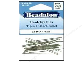 "Beadalon Head Pins 2"" SilverPlate 22pc"
