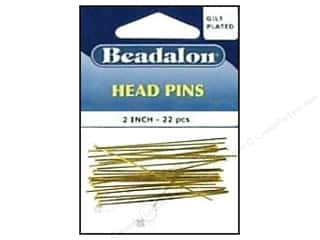 "Beadalon Head Pins 2"" Gold Plate 22pc"