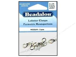 Beading & Jewelry Making Supplies $5 - $94: Beadalon Lobster Clasps  Medium 15.3 mm Silver 5 pc.