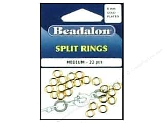 Beadalon Jump Rings/Spring Rings: Beadalon Split Rings Medium 6 mm Gold 22 pc.