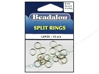 Beadalon Jump Rings/Spring Rings: Beadalon Split Rings Large 8 mm Silver 15 pc.