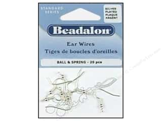 beadalon earring: Beadalon Ear Wires Ball & Spring Silver plated 20pc.