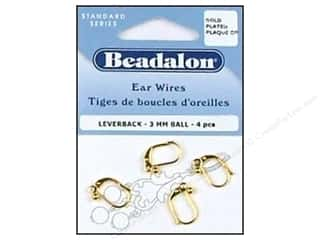 Earrings 1 1/8 in: Beadalon Ear Wires Leverback Ball 3 mm Gold Plated 4 pc.